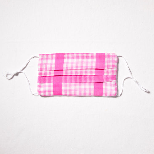 Bright pink cotton check mask with adjustable straps and nosewire for optimal fit