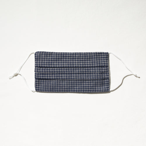 Navy and white windowpane mask with adjustable straps and nosewire for optimal fit