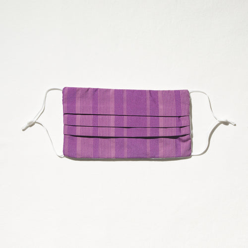 Purple on purple stripe mask with adjustable straps and nosewire for optimal fit