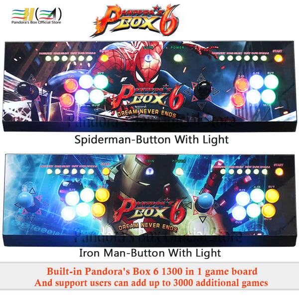 Pandora Box 6! 1300 in 1 arcade game console with joystick controller and led light buttons!