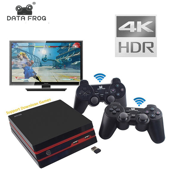DATA FROG Video Game Console 4K HDMI Output Retro 600 Classic 64 Bit Family Video Games 2.4G Wireless Double Gamepad Console