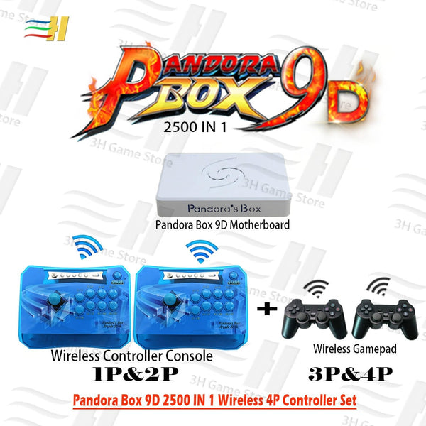 Pandora Box 9D! 2500 games Built In, 4 Players wireless controller Set wireless arcade controller and gamepad. Plug and play!