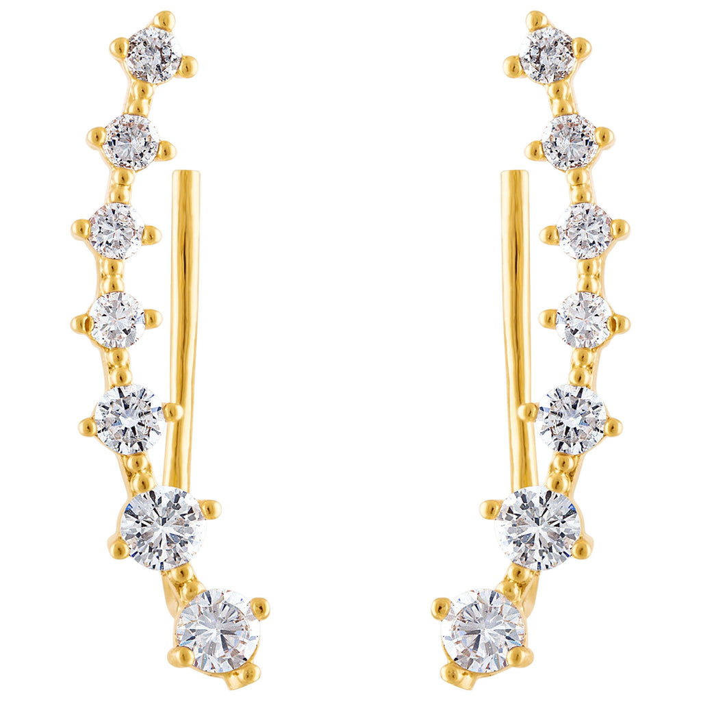 KISPER 18K Gold Plated Cubic Zirconia Ear Crawler Climber Earrings
