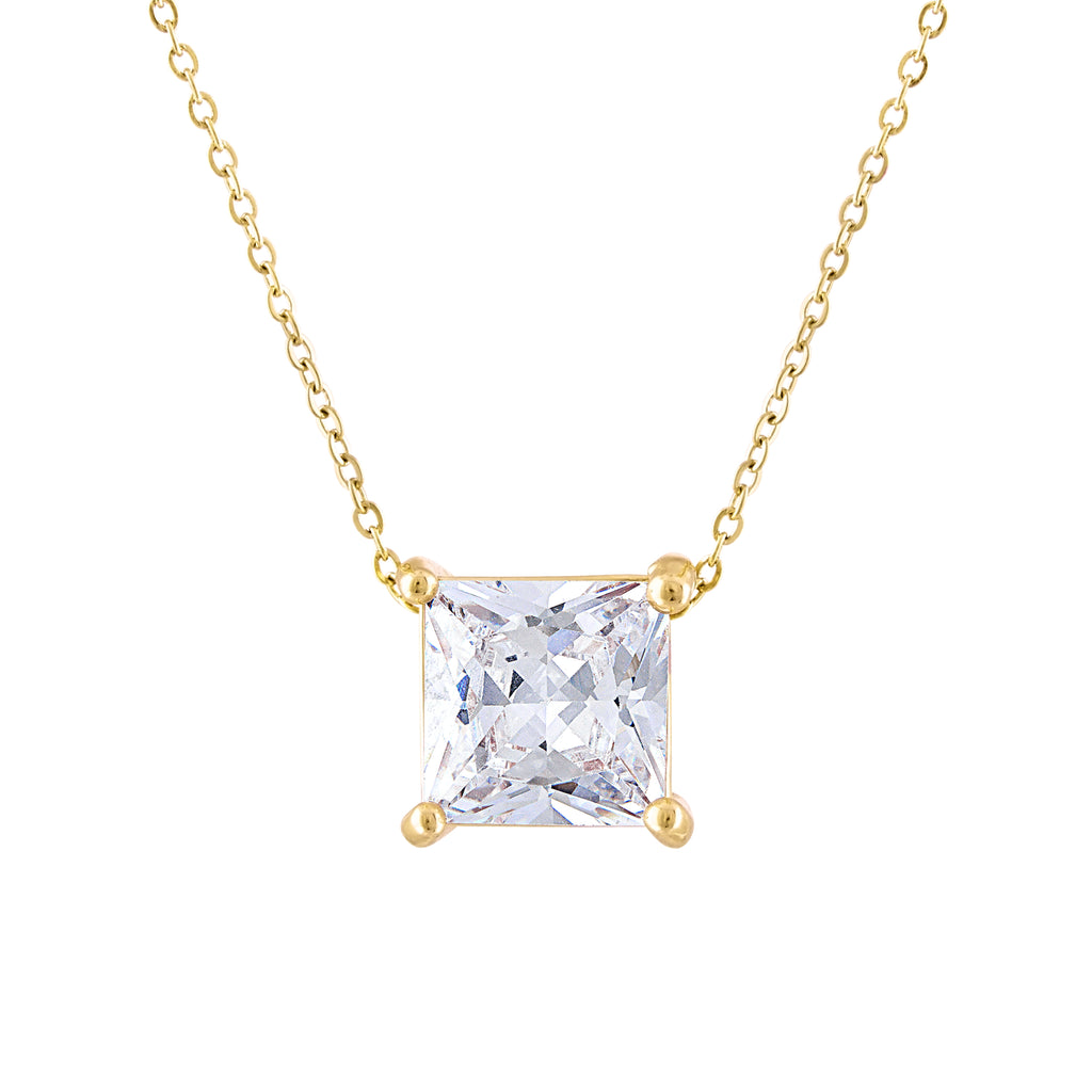 KISPER 18K Gold Plated Square Princess Cut 3 Carat (8mm) Cubic Zirconia Pendant Necklace