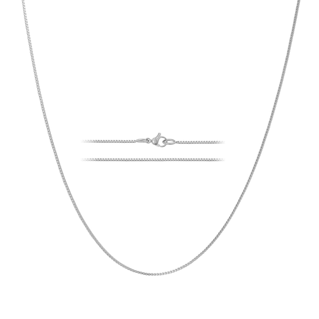 KISPER 24k White Gold Over Stainless Steel 1.2mm Box Chain Necklace, 14-30 inches