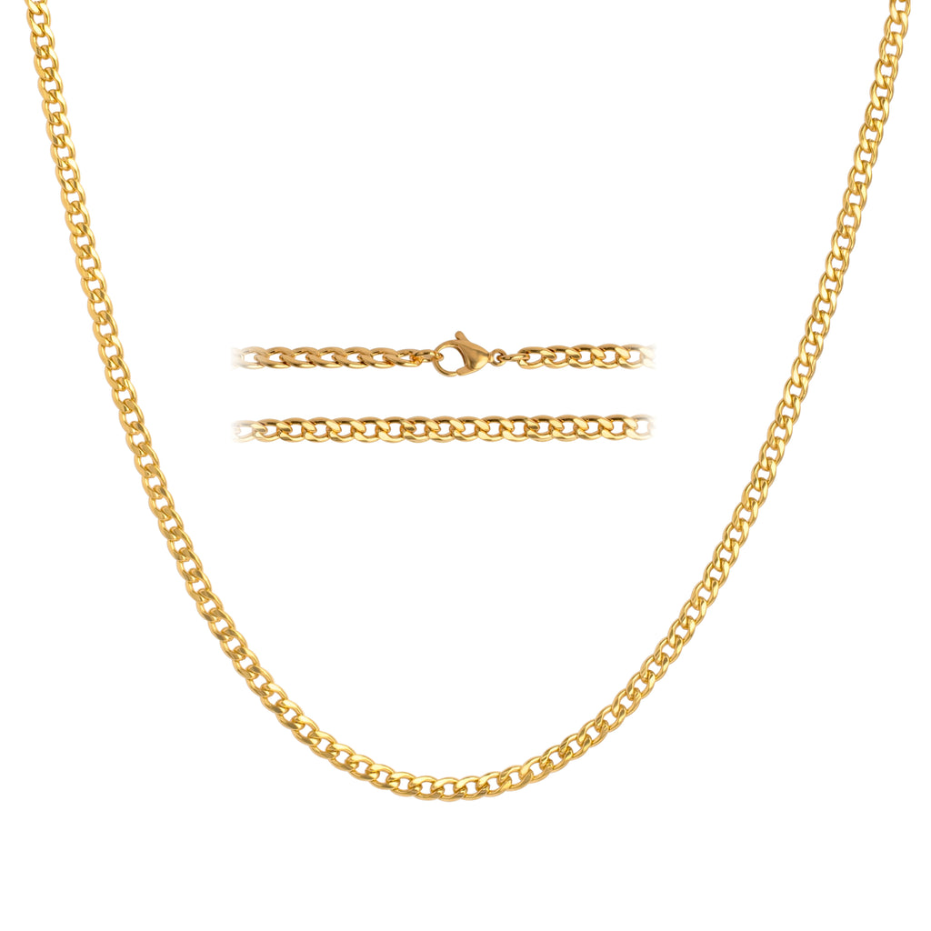 KISPER 24K Gold Plated Stainless Steel Thick 5mm Curb Chain Necklace for Men & Women, 28 inch