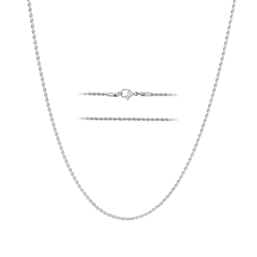 KISPER 24K White Gold Over Stainless Steel Rope Chain Necklace 2mm, 16-28 Inches