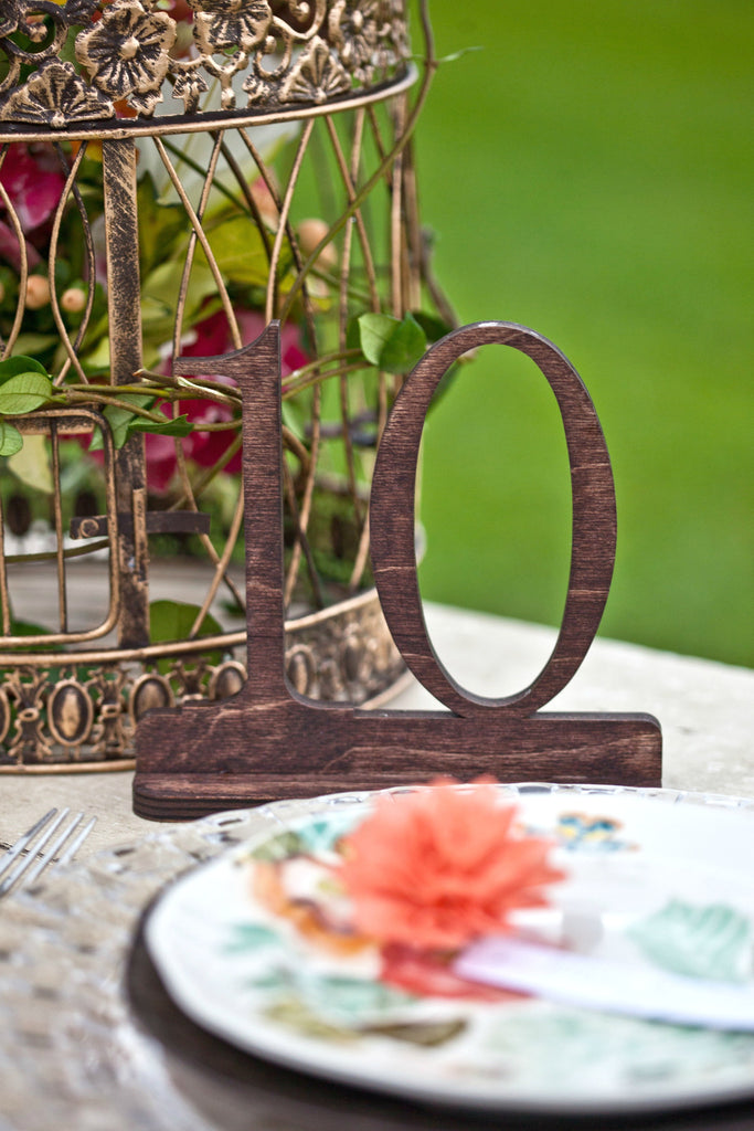 Stained Mahogany Wedding Table Numbers, Wooden Table Numbers, Custom Table Numbers