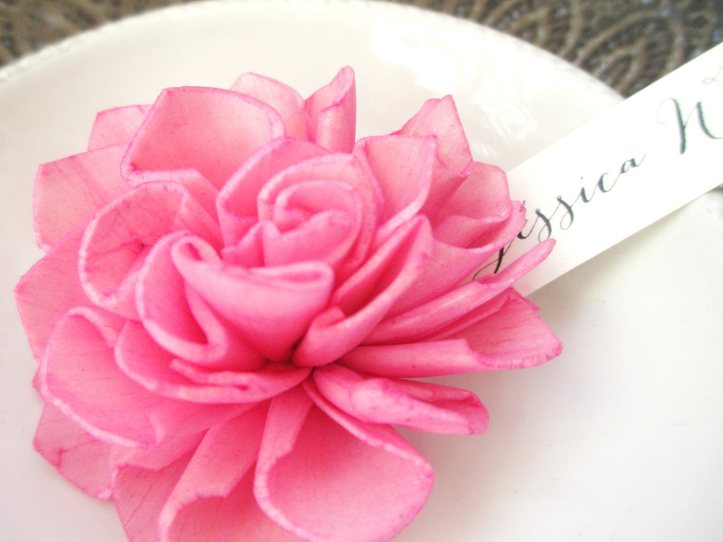 Fuchsia Wooden Flower Place Cards, Rustic Wedding Place Cards, Escort Cards, Pink Wedding