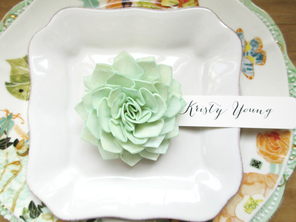 Mint Wooden Flower Place Cards