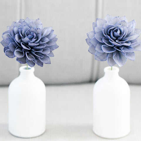 Navy Stemmed Wood Flowers
