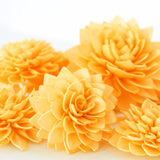 10 Orange Wood Flowers, Wedding Decor, Wedding Flowers