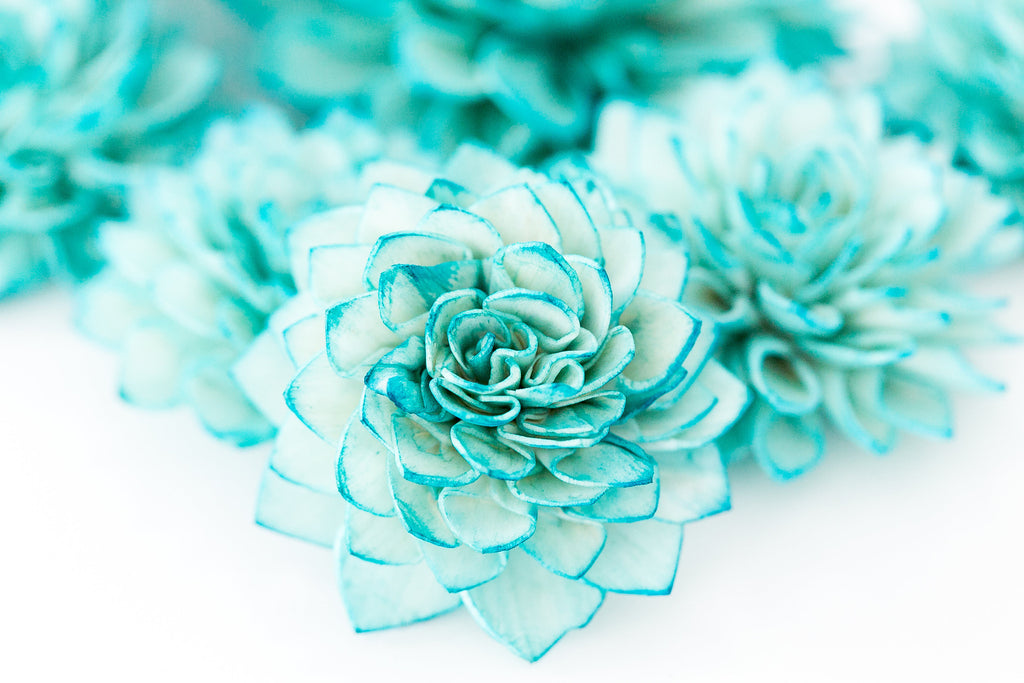 10 Teal Wooden Flowers Wedding Decorations Wedding Flowers Peacock Company Forty Two