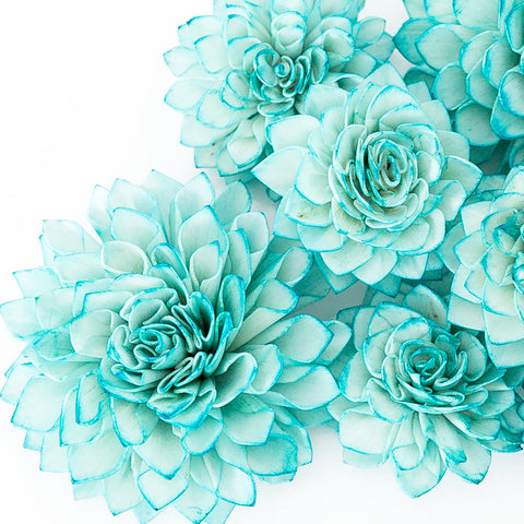 10 Teal Wooden Flowers, Wedding Decorations, Wedding Flowers, Peacock Wedding