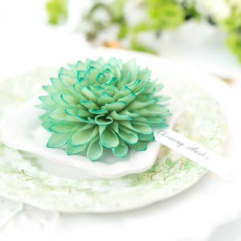 Emerald Wooden Flower Place Cards and Escort Cards