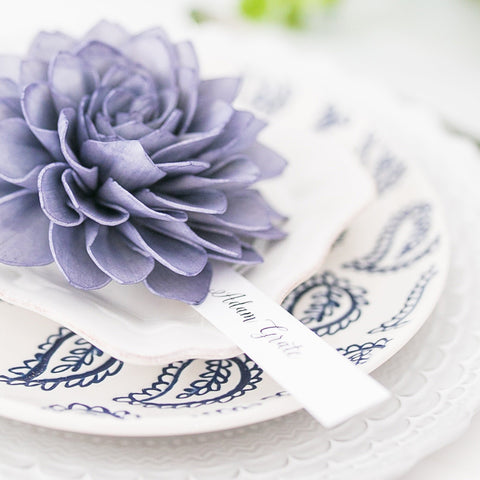 Navy Wooden Flower Wedding Place Cards and Escort Cards