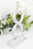 Silver Glittered Wedding Table Numbers, Fine Glitter Wooden Table Numbers