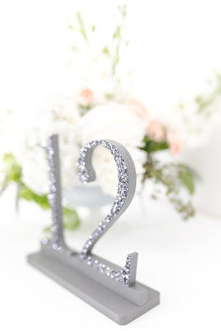 Gunmetal Gray Glittered Wedding and Event Table Numbers, Gray Table Numbers