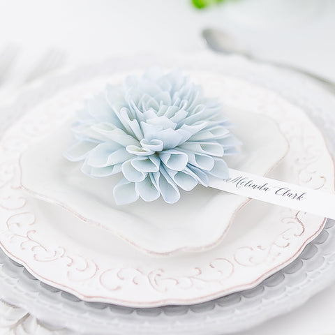 Hydrangea Blue Wooden Flower Place Cards and Escort Cards