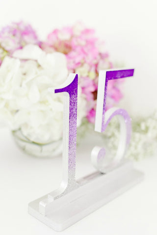Ombre Purple to Silver Glitter Wedding and Event Table Numbers, Ombre Table Numbers
