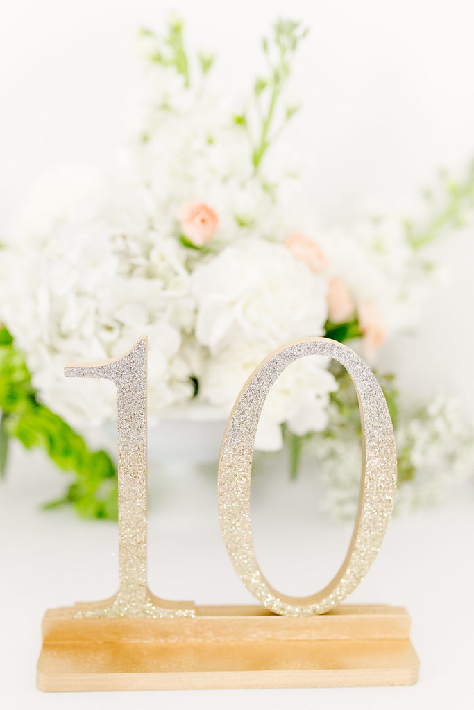 Ombre Silver to Gold Glitter Wedding and Event Table Numbers, Ombre Table Numbers