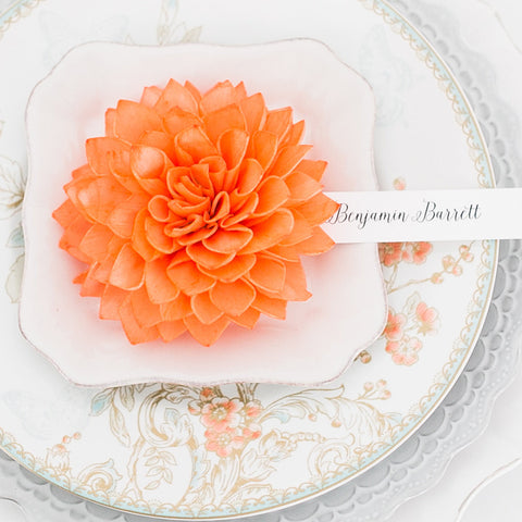 Tangerine Wooden Flower Wedding Place Cards and Escort Cards