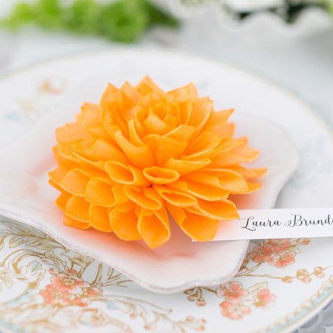Orange Wooden Flower Wedding Place Cards and Escort Cards