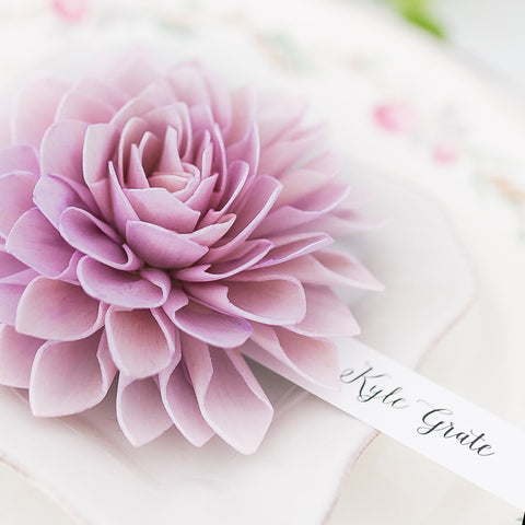Lavender Wooden Flower Place Cards and Escort Cards