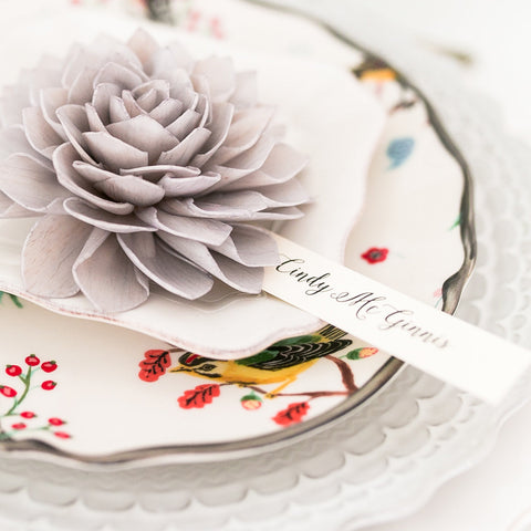 Grey Wooden Flower Wedding Place Cards and Escort Cards