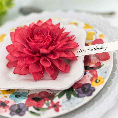 Red Wooden Flower Place Cards and Escort Cards