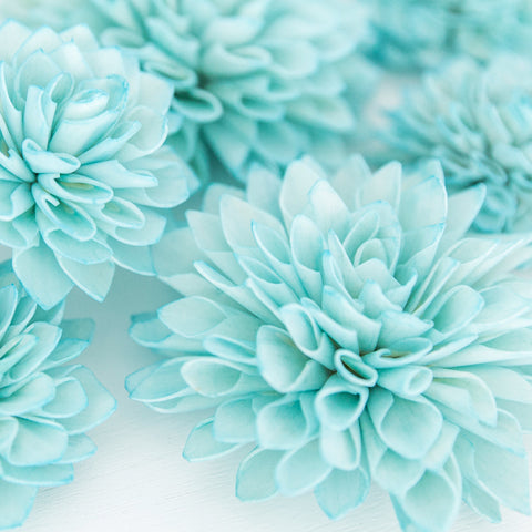 10 Aquamarine Wooden Flowers, Wedding Decorations, Wedding Flowers, Wedding Bouquets