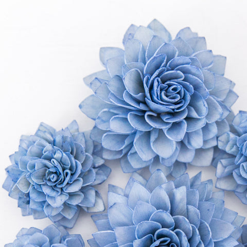 10 Royal Blue Wood Flowers, Cream Wedding Flowers