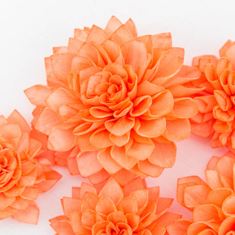 10 Tangerine Orange Wooden Flowers, Rustic Wedding Decorations, Wedding Flowers