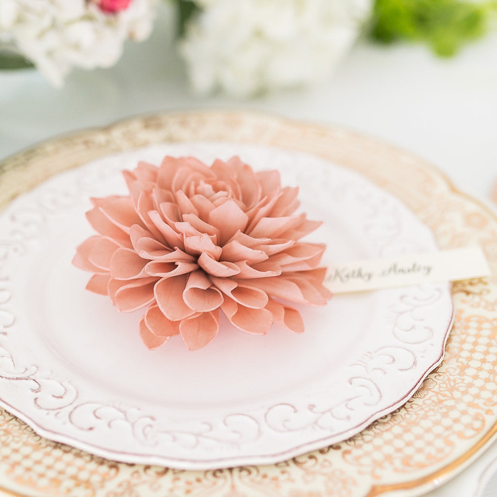 Antique Rose Wooden Flower Place Cards, Vintage Wedding Place Cards, Wedding Escort Cards