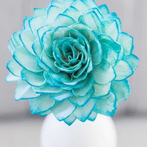 Teal Stemmed Wood Flowers