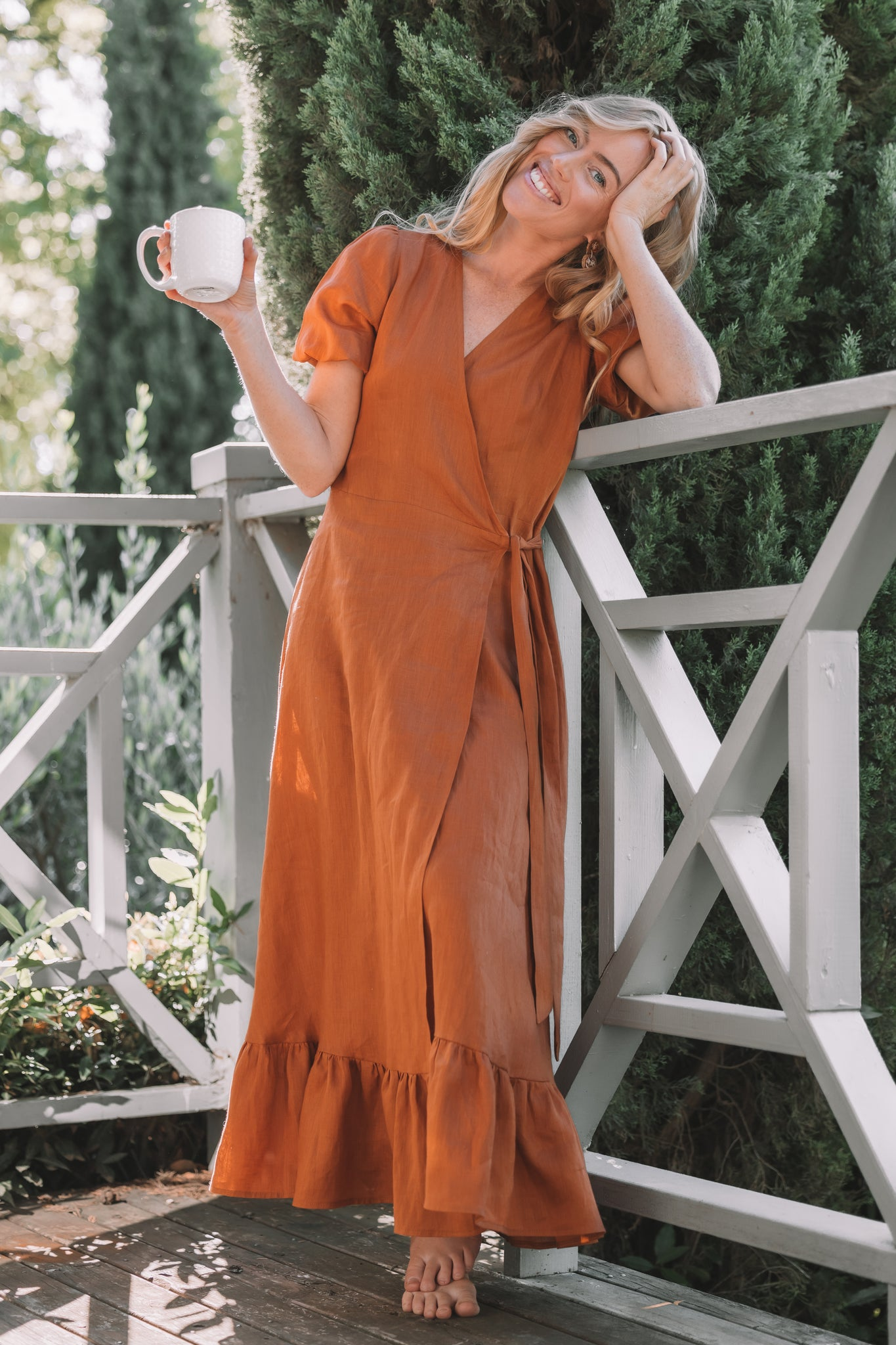 Luna Dress - Terracotta Linen