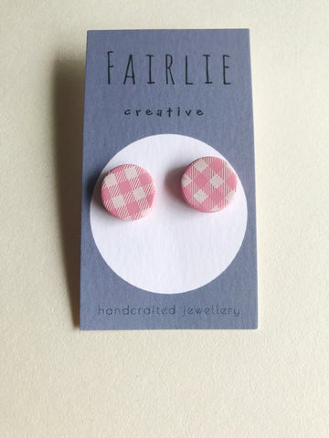 Pink Gingham Studs