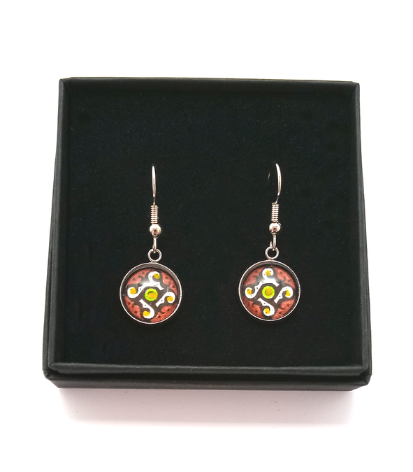 Gammadion Design Hand Painted Earrings