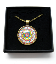 Load image into Gallery viewer, Medieval Rose Design Hand Painted Pendant
