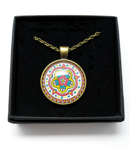 Medieval Rose Design Hand Painted Pendant