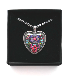 Multicoloured Heart Design Hand Painted Pendant