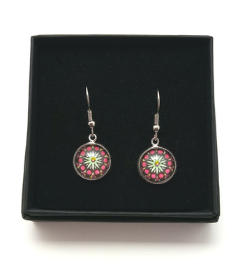 Red Starburst Design Hand Painted Earrings