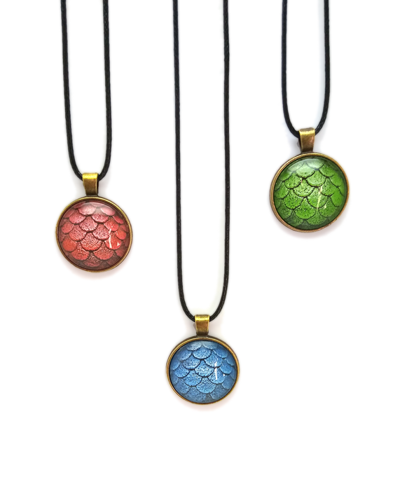 Three colours options of Glass Dragon Scales Pendant