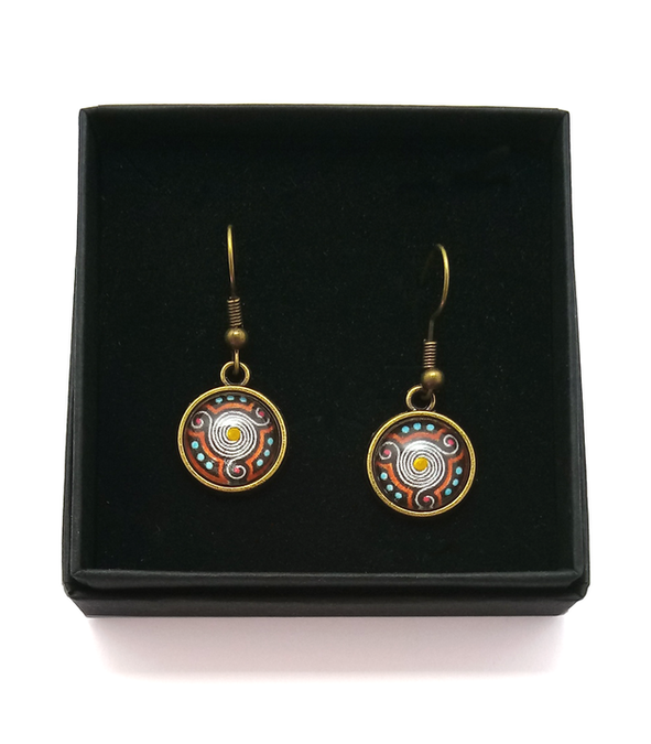Triskele Design Hand Painted Earrings