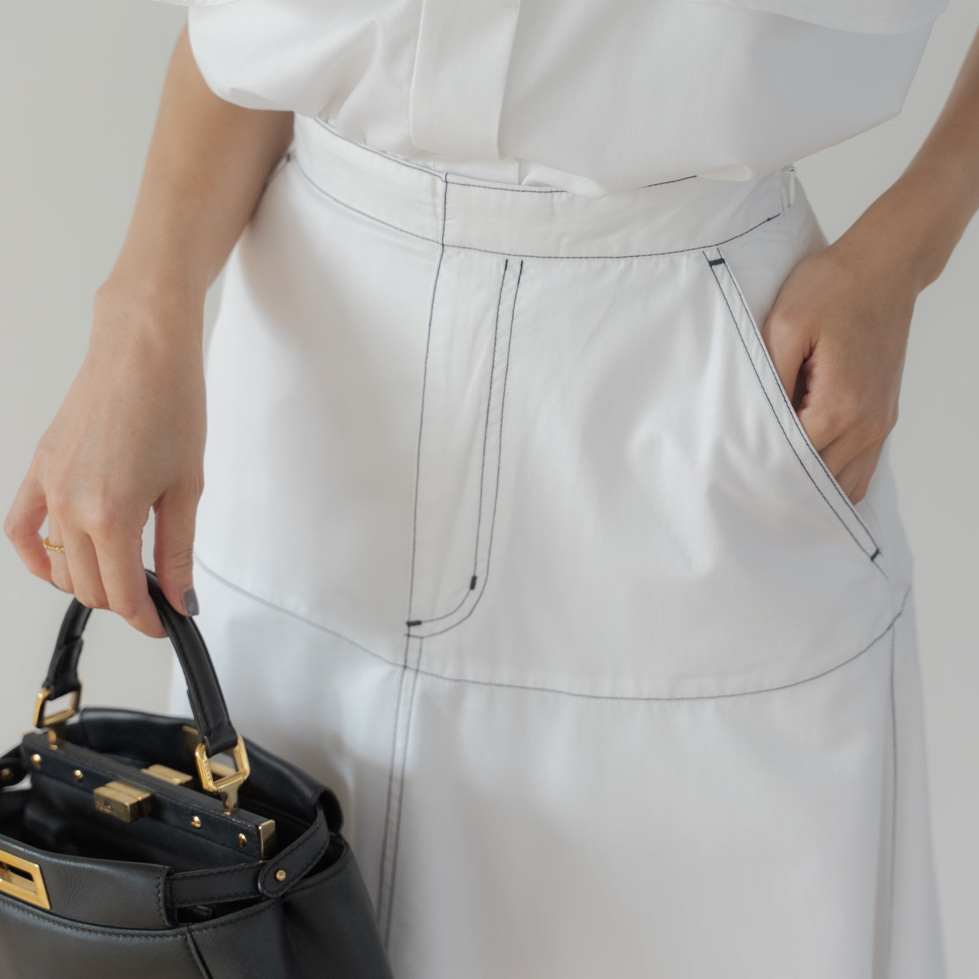DOUBLE STITCH FLARE SKIRT