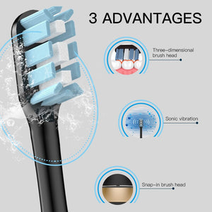 16 Mode Sonic Electric Toothbrush Rechargeable USB Ultrasonic Smart Brush 5 Replacement Brush Teeth Heads Adults Tooth Whitening