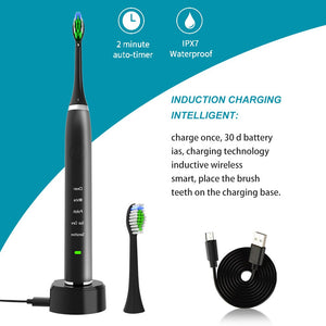 Genkent Sonic Electric Toothbrush IPX7 Waterproof Cordless Rechargeable Toothbrush with 2 Replacement Brush Heads Black White