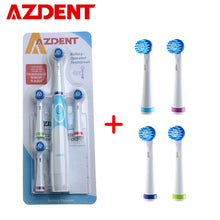 Load image into Gallery viewer, AZDENT Hot Rotatory Electric Toothbrush with Replacement Heads Deep Clean Battery Operated Tooth Brush Teeth Whitening Adults