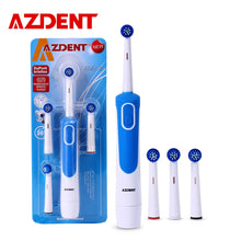 Load image into Gallery viewer, AZDENT New Hot Electric Toothbrush Rotary Tooth Brush AA Battery Power Deep Clean No Rechargeable with 4 Replacement Teeth Heads