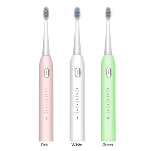 Ultrasonic Electric Toothbrush 5 Modes USB Rechargeable  IPX7 Waterproof Toothbrush (White)